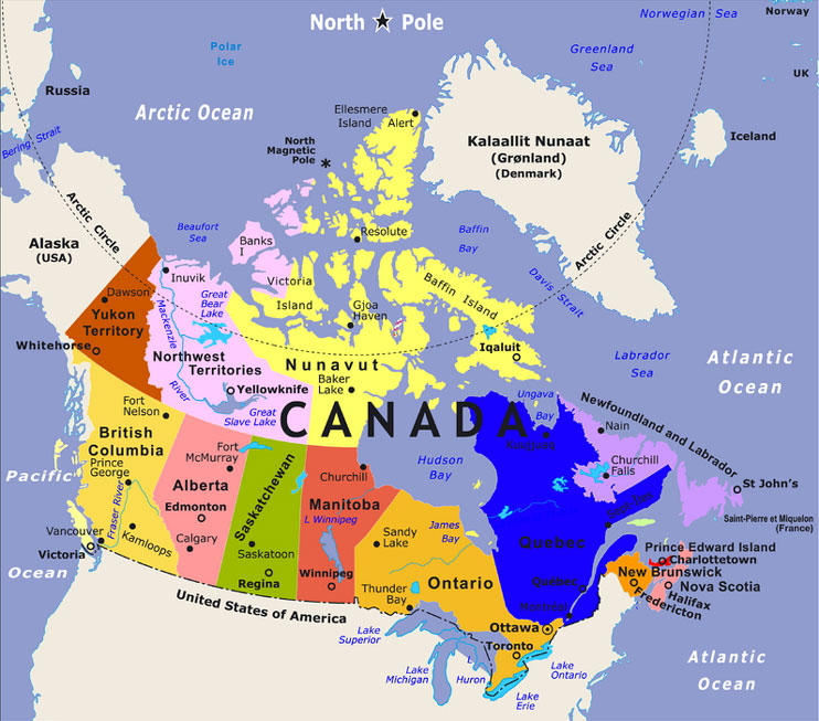 map of canada and usa with cities. BBC News - Canada offers an