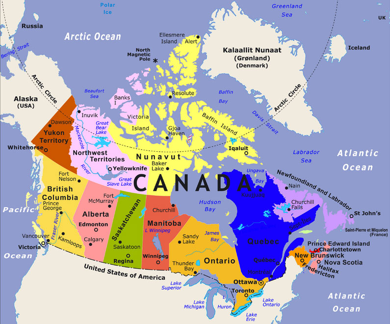Map Of Canada Including Oceans Map of Canada   Maps of Canada